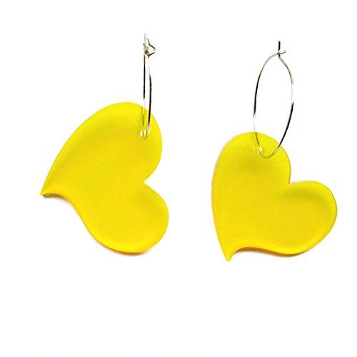 Namgiy Pendientes largos con forma de corazón de bohemia para el día de la madre de 3,5 x 4 cm 3.5CM*4CM amarillo