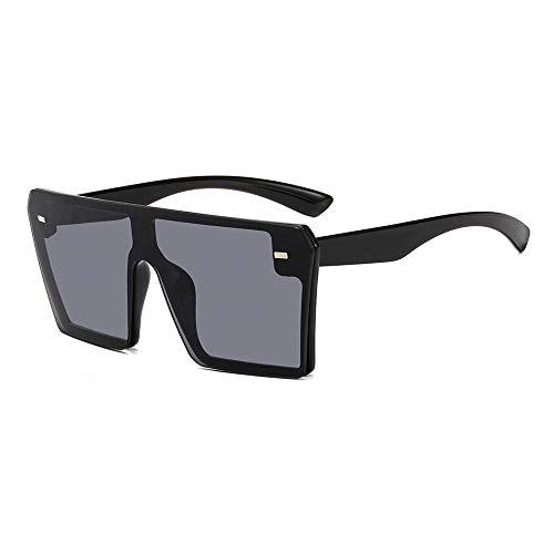 YKDDGG Mode-Accessoires Sonnenbrillen Oversize Square Sonnenbrillen Damenmode Flat Top Gradient Brillen Herren1-Schwarz-Grau
