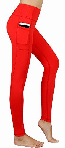 Munvot Leggings Femme Sport Yoga Pantalon Imprimes Stretch avec Poche Gym Pilate Jogging Orange