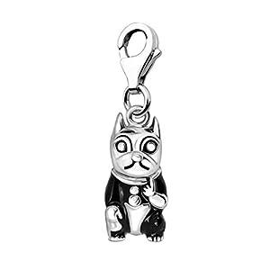Quiges Charm Anhänger Schwarz Emaille 3D Hund Französische Bulldogge mit Suit 925 Silber mit Karabinerverschluss für Bettelarmband