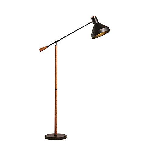 Stehleuchte Wohnzimmer Holz Eisen Mode Design Schwarz Lampenschirm Modern Standlampe Höhenverstellbar E27 Wohnung Schlafzimmer Arbeitszimmer Leselicht, H150 CM (Mode-design Für Wohnzimmer)