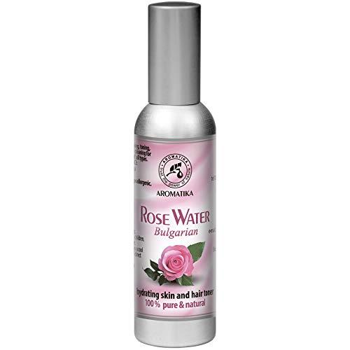Agua de Rosas 75ml - Agua Floral de Rosa Damascena - 100% Puro - Rosa Aromática de Bulgaria - Tónico Facial con Atomizador - Ideal para la Piel - para a Todo Tipo de Piel - Sin Químicos Ni Alcohol