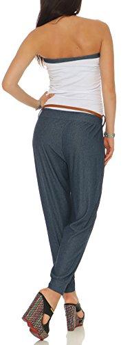 malito Damen Einteiler in Uni Farben   schlichter Overall mit Gürtel   Jumpsuit im Jeans Look   Romper