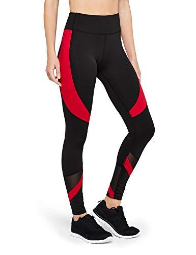 AURIQUE Damen Sport Leggings mit hohem Bund und Colour-Block-Design, Schwarz (Black/Red Floral Print), 38 (Herstellergröße:M)