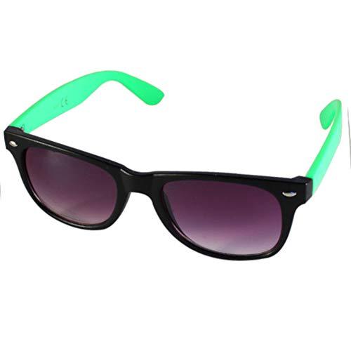 Chic-Net Sonnenbrille Nerd zweifarbig Unisex Brille lila getönt 400 UV Wayfarer grün klein