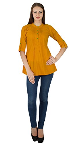 Boho Top Kleid Fest Wear Lässige Tunika Frauen Kleidung Cotton Sommer Sundress Ocher Yellow