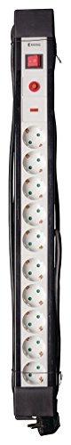 Preisvergleich Produktbild Eurosell - Premium Line 10fach Steckdosenleiste Mehrfachstecker Schutzkontakt + Kindersicherung + Überspannungsschutz + 3 Meter langes Kabel schwarz