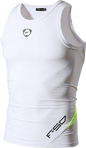 jeansian Herren Sportswear Quick Dry Sleeveless Sports Tank Tops LSL3306 White M