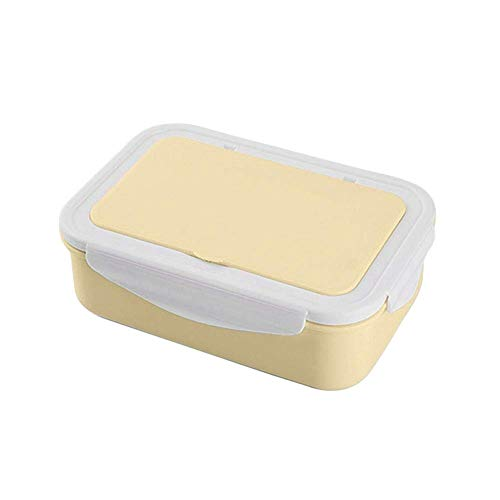 H-ONG Bento Box Microwave Lunch Box with 3 Compartment Leakproof Food Storage Container for Adults Kids School Work Travel Use BPA-Free (Yellow)