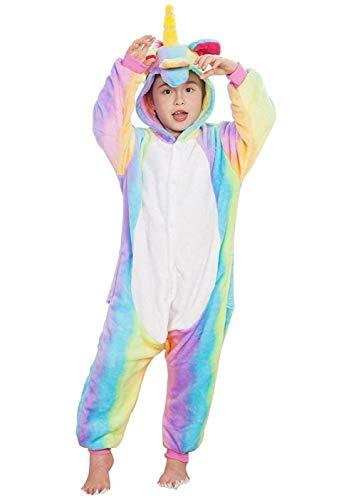 DATO Kinder Pyjamas Tier Bunt Einhorn Overall Flanell Cosplay Kostüm Kigurumi Jumpsuit für Mädchen und Jungen Hohe 90-148 cm