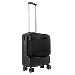 Cabin Max Fusion – Maleta de Cabina de ABS con Bolsillo de Viaje de Fácil Acceso – Maleta de Viaje de 55x40x20 cm con 4 Ruedas Giratorias – 3,3 kg y una Capacidad Masiva de 38L (Negro)