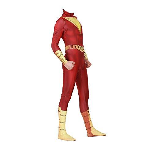 werty Cosplay Kleidung DC Golden Thunder Shazam Cosplay Kostüm Lycra Anime Kostüm 3D Digitaldruck Enge Weihnachten Halloween Kostüm Für Erwachsene Tragen F-L