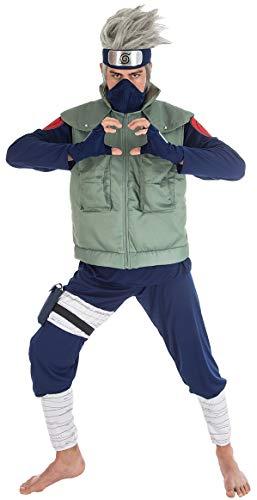 Chaks Kakashi-Kostüm Naruto-Lizenzkostüm für Herren grün-blau L (Kyuubi Naruto)