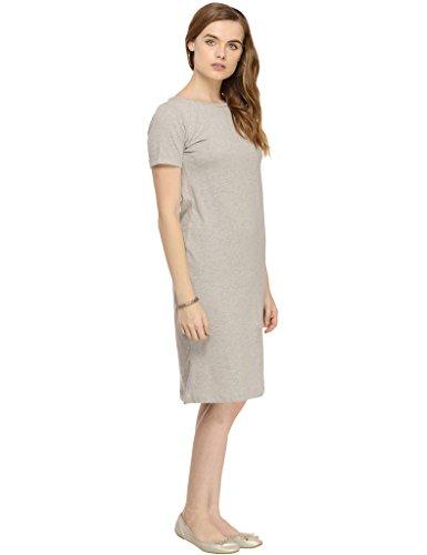Rigo-Grey-Solid-Knee-length-Half-Sleeve-Bodycon-dress