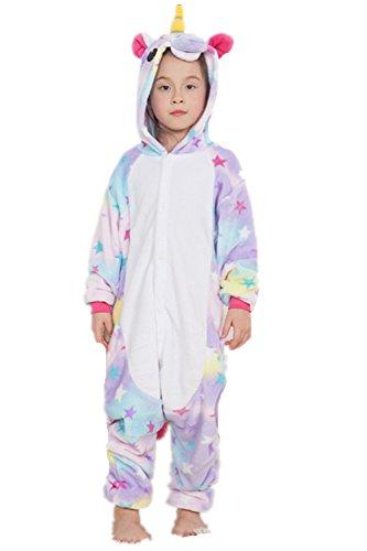 Kenmont Einhorn Kinder Unisex Pyjamas Karneval Halloween Tier Schlafanzug mit Kapuze Nachtwäsche Tierkostüme Cosplay Kostüm (Star, Größe 105 (Höhe 120-130cm))