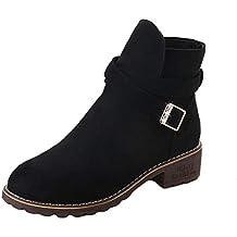 Zapatos Mujer,Mujeres Hebilla Damas Faux Botas Calientes Botines Tacones Medios Zapatos Ankle