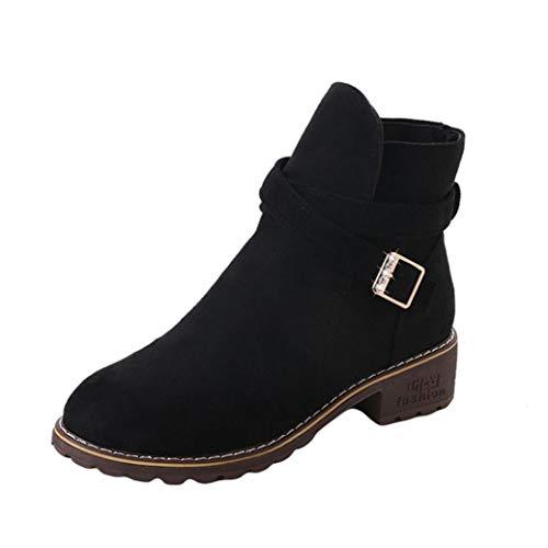 Zapatos Mujer,Mujeres Hebilla Damas Faux Botas Calientes Botines Tacones Medios Zapatos Martin