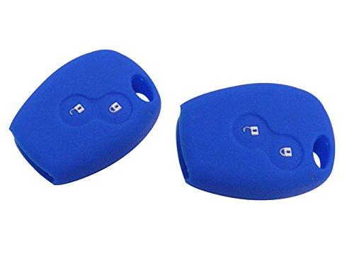 Preisvergleich Produktbild Happyit 2 Pcs-Auto-Schlüsselkasten-Abdeckung Silikon für Renault 2 Knöpfe Kangoo Scenic Megane Sandero Captur Twingo Modus Fernsteuerungsabdeckung (dunkelblau)