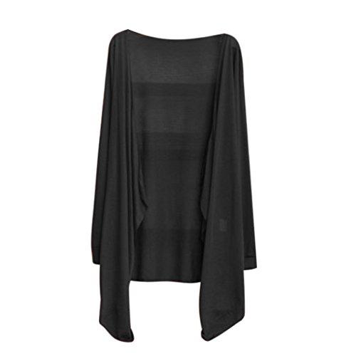 Befied Gilet Femme Mince Manches Longues Ouvert Ourlet Asymétrique Légère Cardigan Noir