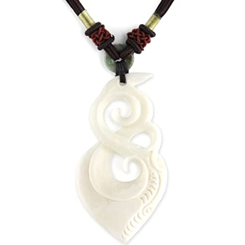 Organic Filigree - Hand Carved Bone Pendant - Beaded Mahogany Adjustable Necklace
