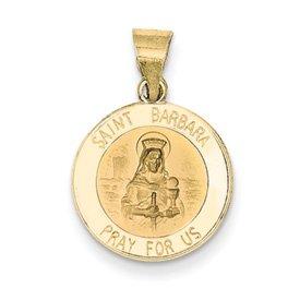 14k lucido e satinato Santa Barbara Medaglia Ciondolo da UKGems - 14k Polished and Satin St. Barbara Medal Pendant by UKGems