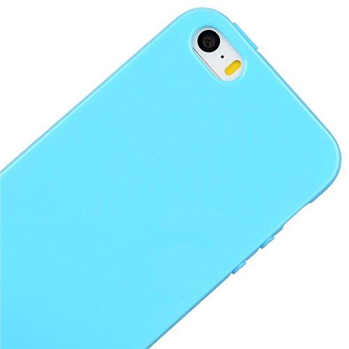 Coque iPhone 5 / 5s / SE, Yokata Solide Mat Anti-Fingerprint Case Housse Étui Soft Doux TPU Silicone Flexible Backcover Ultra Mince Coque - Pourpre Bleu