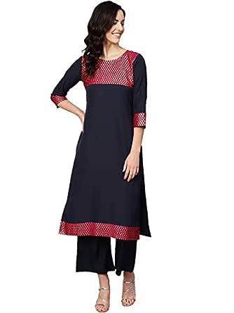 Ziyaa Women's Blue Color Solid Straight Crepe Kurta With Palazzo / Salwar Suit Set