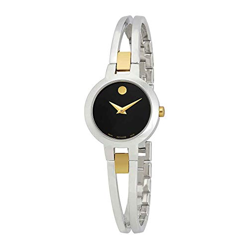 Movado Women's Amorosa Two-Tone Watch with Concave Dot Museum Dial, Silver/Gold/Black (Model 607184)
