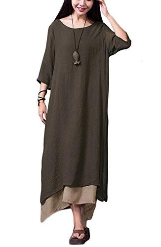 Damen Kleid Unregelmäßiger Rand Beiläufige Boho Lang Maxikleider S-4XL,Orange/Grün/Coffee, Coffee, XXL -