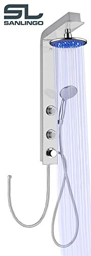 Preisvergleich Produktbild LED Duschpaneel Glas Duschsäule Silber Weiss Weiß Regenschauer Handbrause Massage Sanlingo