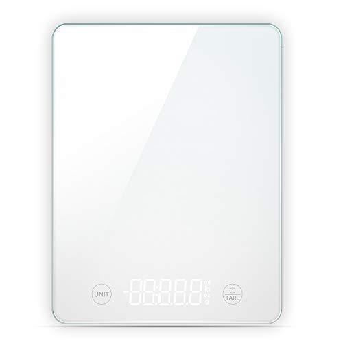TechRise Digital Küchenwaage, berührungsempfindliche Lebensmittelwaage mit hoher Präzision LED-Anzeige und Tara-Funktion, Auto-Off, große Glaswaage zum Kochen/Diät / Backen - 5 kg, Weiß