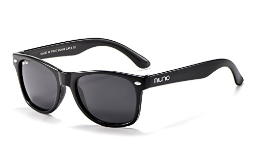 Miuno® Kinder Sonnenbrille Wayfare für Jungen und Mädchen Etui 2688 (Schwarz)