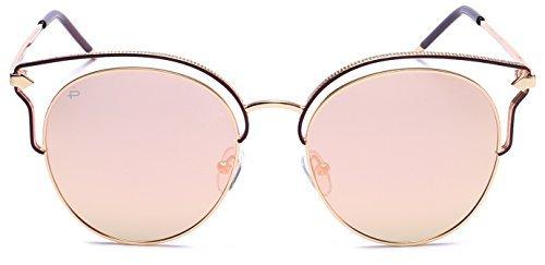 PRIVÉ REVAUX Frau Designer Cat-Eye-polarisierten Sonnenbrillen Einheitsgröße Gold