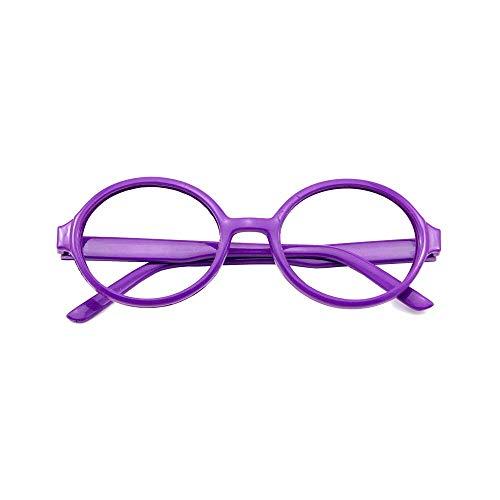 Papamsy Vintage Fashion Unisex Kunststoff Runde Brillengestell Keine Linse Blau|5 Farbe|Lila
