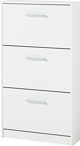 Germania 3602-84 Schuhschrank mit 3 Klappen, in Weiß, 58 x 105 x 17 cm (BxHxT)