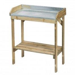 Table de rempotage en bois pin et zinc - 97 x 85 x 42 cm - CIS