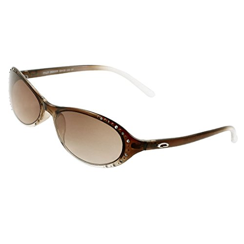 DealMux Oval braun Objektiv Kunststoff Brillen Faux Rhinestone-Detail Sonnenbrillen für Frauen