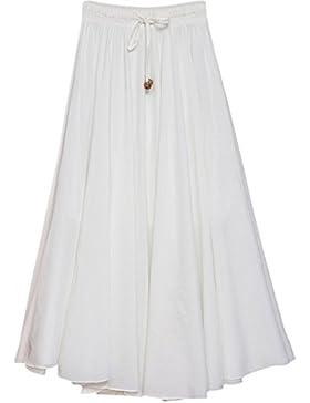 Feoya Falda Larga para Mujeres Plisada Maxi Dress Bohemia para Playa Viaje Danza Cóctel con Cintura Elástica