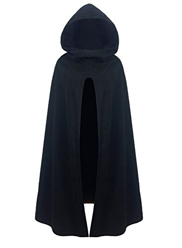 FUTURINO Damen Winter/Herbst Gotisch Lose Umhang mit Kapuze Mantel Poncho Kap Outwear Longstrickjacke, S, Schwarz