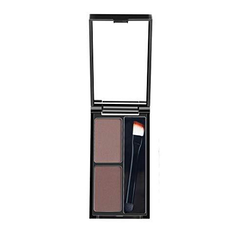 Hupoop 2-Farben-Augenbrauenpuder-Augenbrauen-Paletten-Kosmetik-Schattierungs-Kit mit Bürstenspiegel (C)