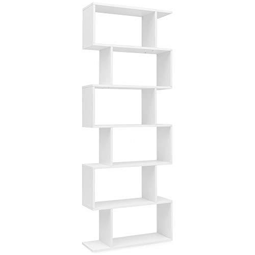 KS-Furniture WL5.691 - Libreria a 6 Scomparti, 70 x 23,5 x 190,5 cm, Colore: Bianco