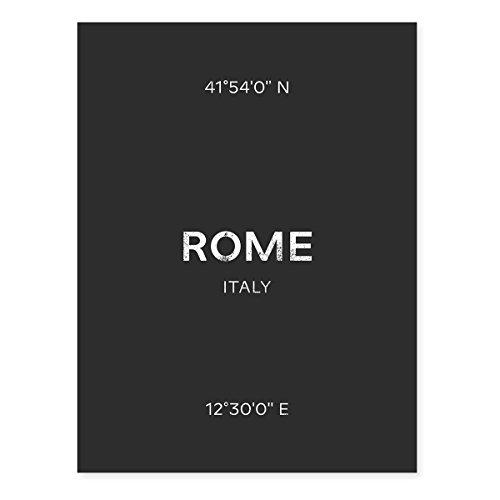 Karte Schwarz Und Weiß (PHOTOLINI Design-Poster 'Rom' 30x40 cm schwarz-Weiss Karte Typografie Modern Rome)
