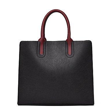 Donna informale solido Vintage pu in pelle Tracolla Messenger Crossbody borse/borsa borse,giallo Black