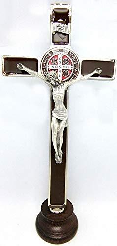GTBITALY 10.268.11Aber Kreuz des Heiligen Benedikt Silber auf Basis Holz 20cm braun emailliert Handarbeit mit Medaille und Behälter und preghierea 3Sprachen