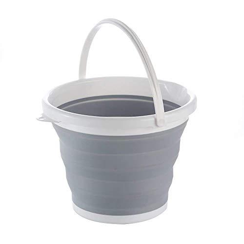 Cubo plegable de silicona, ideal para caravanas, para cocinas o para el aire libre, color gris y blanco