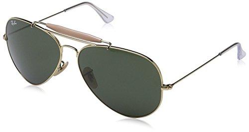 Ray Ban Unisex Sonnenbrille Outdoorsman II, (Gestell: Gold, Gläser: Grün Klassisch L2112), X-Large (Herstellergröße: 62) - Ray-ban Outdoorsman Sonnenbrille
