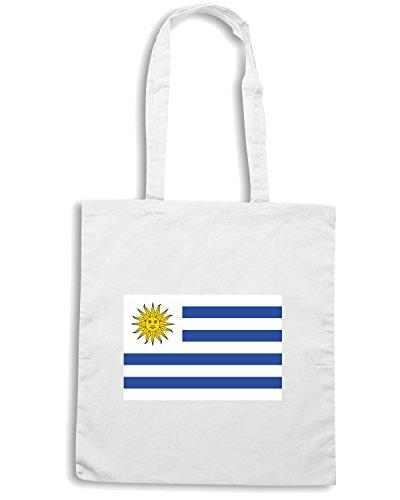 T-Shirtshock - Borsa Shopping TM0164 Bandera de Uruguay flag Bianco