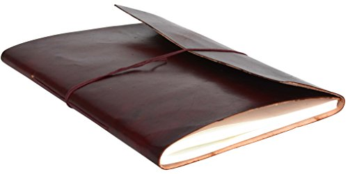 Gusti Leder nature Buch Notizblock Tagebuch Skizzenbuch Kladde Traditionell Groß Lederaccessoire Fotobuch Einschreibbuch Büro Alltag Universität Glatt Braun V33, Rotbraun, B4 -