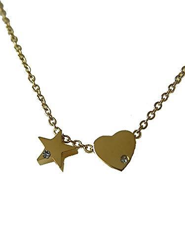 lordies Echt Edelstahl Kette Halskette Kurze Kette mit Anhänger Herz und Stern Strass Gold