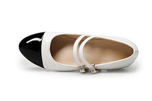 Couleurs à Bas Rond Boucle Légeres Blanc Talon VogueZone009 Mélangées Matière Chaussures Mélangee Femme nqw84U1